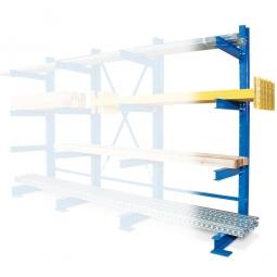 Kragarmregal / Anbauregal, blau kunststoffbeschichtet, BxTxH 1000 x 740 x 2000 mm, einseitig, 1 Regalfeld, 4 Ebenen, Tragkraft/Fachebene 450 kg