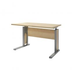 Schreibtisch mit C-Fußgestell, Farbe silber, Platte Ahorn, BxTxH 800x800x680-820 mm