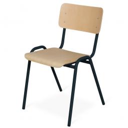 Stapelstuhl, Stahlrohrgestell schwarz, Kunststoffbeschichtet, Sitz und Lehne aus Buchenschichtholz
