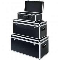 Alurahmen-Transportboxen, 3er-Set, Farbe anthrazit, abklappbare Tragegriffe, abschließbar