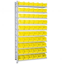 Anbauregal, verzinkt, HxBxT 2000x1035x315 mm, 10 Böden, 60 Sichtboxen LB 4 Farbe gelb
