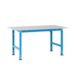 Pack- und Beistelltisch, Tragkraft 1000 kg, BxTxH 1500x800x760-870 mm, lichtblau