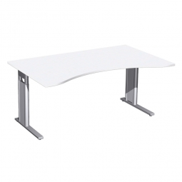 Schreibtisch PREMIUM höhenverstellbar, Weiß/Silber, BxTxH 1600x800/1000x680-820 mm
