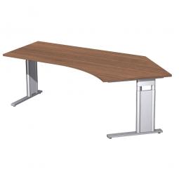 Schreibtisch PREMIUM höhenverstellbar, 135° rechts, Nussbaum/Silber, BxTxH 2166x800/1130x680-820 mm