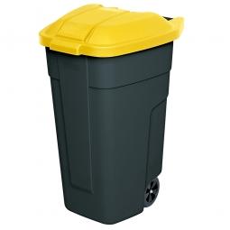 Rolltonne, PP, BxTxH 510 x 550 x 850 mm, 100 Liter, anthrazit/gelb