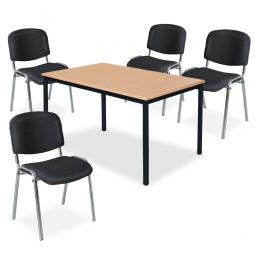 """Tischgruppe """"Perfekt"""", schwarz, bestehend aus 4 Polsterstühlen und 1 Tisch"""