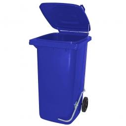 Müllbehälter, 80 Liter, blau, mit Fußpedal, HxBxT 930x445x520 mm, Niederdruck-Polyethylen (PE-HD)