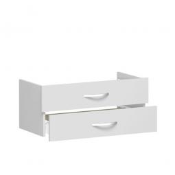 Schubladenset FLEX, lichtgrau, Breite 800 mm, hochwertige Metallgriffe in silbermatt