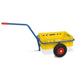 Handwagen mit E2 Kunststoffkasten, H 200 mm, gelb, LxBxH 1250 x 640 x 660 mm, Tragkraft 200 kg