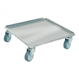 Edelstahl-Transportroller für 500 x 500 mm Spülkörbe, graue Gummiräder, Deck geschlossen, Tragkraft 250 kg