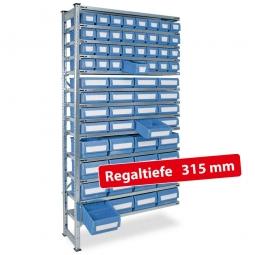 Fachbodensteck-Anbauregal, BxTxH 1000 x 315 x 2000 mm, 13 Böden, mit 64 Regalkästen, 3 Größen gemischt, Farbe hellblau