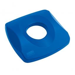 Deckel mit Flascheneinwurf für Abfallbehälter, blau, Polyethylen, LxBxH 405x405x80 mm