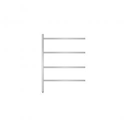 Aluminium-Anbauregal mit 4 geschlossenen Regalböden, Stecksystem, BxTxH 1175 x 400 x 1600 mm, Nutztiefe 340 mm