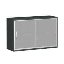 Glas-Schiebetürschrank PRO 2 Ordnerhöhen, graphit, BxHxT 1200x768x425 mm