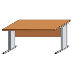 Schreibtisch mit C-Fußgestell, Farbe silber, Platte Buche, BxTxH 800 x 800 x 720 mm