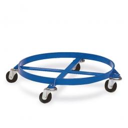 Fassroller, Farbe blau RAL 5010, Stehender Transport von 200-Liter Stahlblechfässer