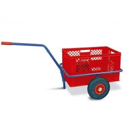Handwagen mit Kunststoffkorb, H 320 mm, rot, LxBxH 1250 x 640 x 660 mm, Tragkraft 200 kg