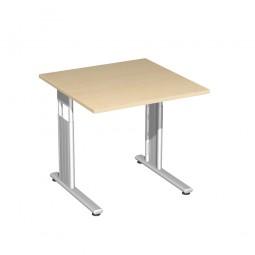Schreibtisch ELEGANCE höhenverstellbar, Dekor Ahorn, Gestell Silber, BxTxH 800x800x680-820 mm