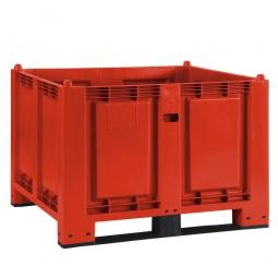 Palettenbox mit 2 Kufen, LxBxH 1200 x 800 x 850 mm, rot, Boden/Wände geschlossen, Tragkraft 500 kg