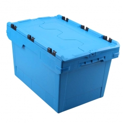 Universal Klappdeckelbox, verplompbar, LxBxH 600 x 400 x 350 mm, 58 Liter, blau