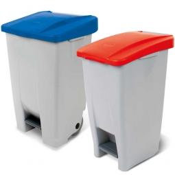 Spar-Set, 2x Tret-Abfallbehälter, 60 Liter Deckel rot + 80 Liter Deckel blau, Korpus grau