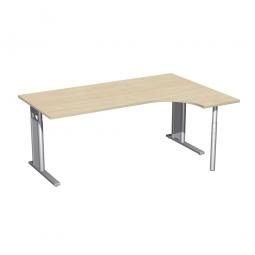 Schreibtisch PREMIUM, Schrankansatz rechts, Ahorn/Silber, BxTxH 1800x800/1200x680-820 mm