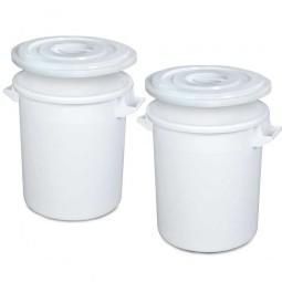 Set-Tonnen, 100 Liter, Ø oben/unten 520/415 mm, Höhe 670 mm, weiß