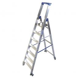 Alu-Stufenleiter mit 7 Stufen, fahrbar, Standhöhe 1650 mm, max. erreichbare Arbeitshöhe 3650 mm