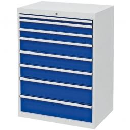 System-Schubladenschrank mit 8 Schubalden, BxTxH 900x575x1220 mm, lichtgrau/enzianblau