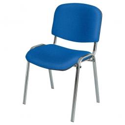 Polsterstuhl, blau, Gestell hochglanzverchromt, HxBxT 820x525x565 mm, Sitz HxBxT 490x475x415 mm
