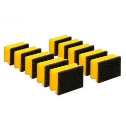 Padschwamm, gelb-schwarz, LxBxH 95x70x45 mm, Spezialreiniger mit sehr starkem Vlies, Paket = 10 Schwämme