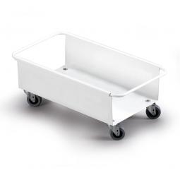 Fahrwagen für Abfall- und Wertstoffbehälter, LxBxH 470x260x180 mm, aus weißlackiertem Metall