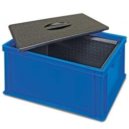Eurobehälter mit EPP-Isolierbox, geschlossen, LxBxH 600 x 400 x 320 mm, 34 Liter, blau