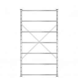 Fachbodenregal mit 7 Böden, Stecksystem, Grundregal, einseitige Ausführung, BxTxH 1270 x 315 x 2300 mm, Oberfläche glanzverzinkt