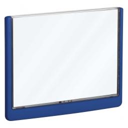 Türschild aus ABS-Kunststoff mit aufklappbarem Sichtfenster, BxH 210 x 148,5 mm, dunkelblau