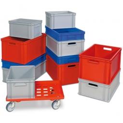 Set mit 12 Euro-Stapelbehältern in 4 Größen + Gratis-Zugabe: 1 Transportroller mit Gitterdeck