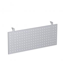Knieraumblende für Fünfeck-Platte, aus Stahlblech, gelocht, Höhe 400 mm, Farbe silber