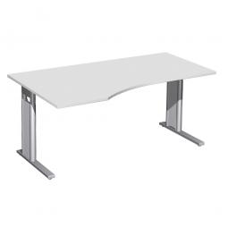 Schreibtisch PREMIUM höhenverstellbar, links, Lichtgrau/Silber, BxTxH 1600x800/1000x680-820 mm