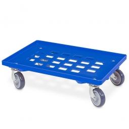 Transportroller für 600 x 400 mm Eurobehälter, Gitterdeck, mit 4 Lenkrollen und grauen Gummirädern, Tragkraft 250 kg, blau