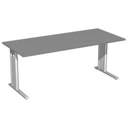 Schreibtisch PREMIUM höhenverstellbar, Rechteck, Graphit/Silber, BxTxH 2000x800x680-820 mm