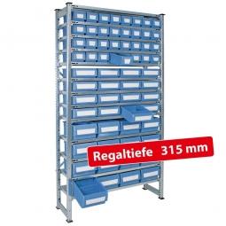 Fachbodensteck-Grundregal, BxTxH 1000 x 315 x 2000 mm, 13 Böden, mit 64 Regalkästen, 3 Größen gemischt, Farbe hellblau