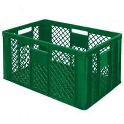 Eurobehälter mit 4 Durchfassgriffen, LxBxH 600 x 400 x 320 mm, 63 Liter, grün