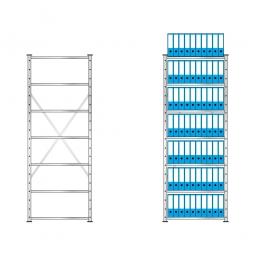 Fachbodenregal mit 7 Böden, Stecksystem, Grundregal, einseitige Ausführung, BxTxH 870 x 315 x 2300 mm, Oberfläche glanzverzinkt