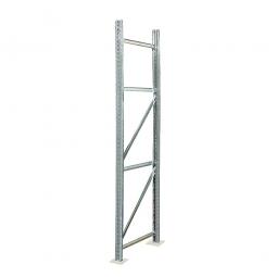 Rahmen für Palettenregale, Stecksystem, zerlegt, TxH 800 x 4000 mm, Profil PN80, Oberfläche glanzverzinkt