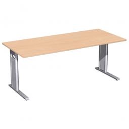 Schreibtisch PREMIUM höhenverstellbar, Rechteck, Buche/Silber, BxTxH 2000x800x680-820 mm