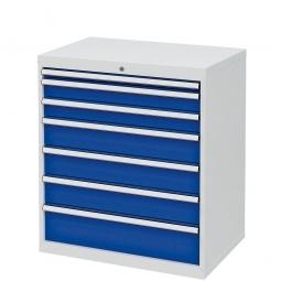 System-Schubladenschrank mit 7 Schubalden, BxTxH 900x575x1020 mm, lichtgrau/enzianblau