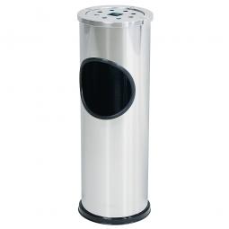 Abfallbehälter 10 Liter mit Ascher, Edelstahl, Ø 145 mm, H 565 mm, herausnehmbarer Ascher