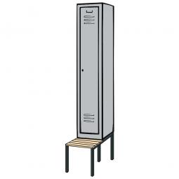 Kleiderspind mit untergebauter Sitzbank und Drehriegelverschluss, HxBxT 2090x420x500/815 mm