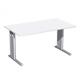 Schreibtisch PREMIUM höhenverstellbar, Rechteck, Weiß/Silber, BxTxH 1800x800x680-820 mm