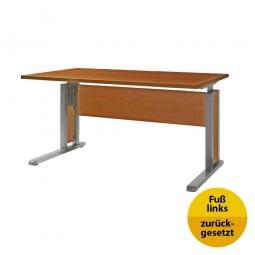 Verkettungs-Schreibtisch, Gestell silber, Platte Kirsche, BxTxH 1200x800x680-820 mm